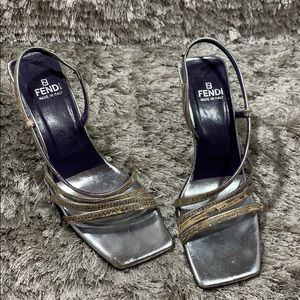 Fendi snakeskin silver SnapBack sandal heel 7.5